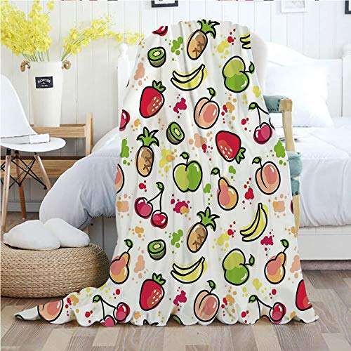 Fruits,Throw Blankets,Flannel Plush Velvety Super Soft Cozy Warm with/Watercolor Pear Cherries Kiwi Brushstroke Splashes Cute Kids Kitchen Decorative/Printed Pattern(60
