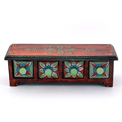 Creative Studio Wooden Ceramic Blue Pottery 4 Drawer Set Bowl