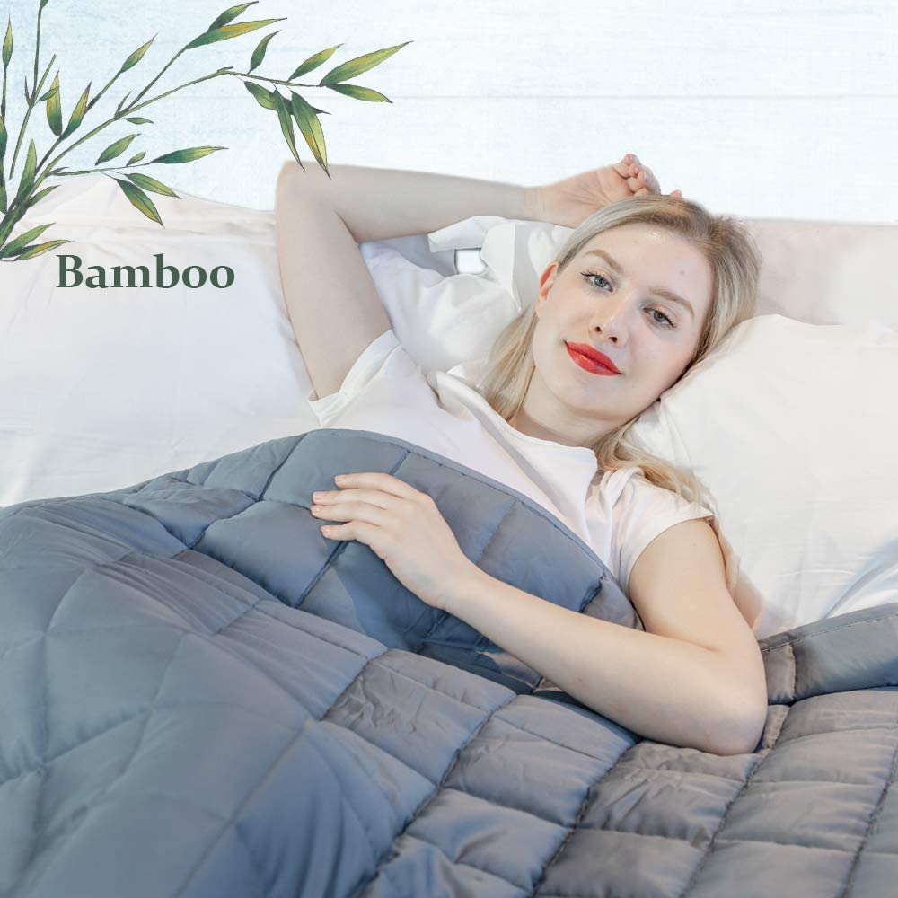 """Daverose Cooling Weighted Blanket 4.0   100% Natural Bamboo Heavy Blanket   60""""x80"""" Queen   25lbs for 230-260lbs Individual   Breathable Bamboo with Premium Micro Glass Beads"""
