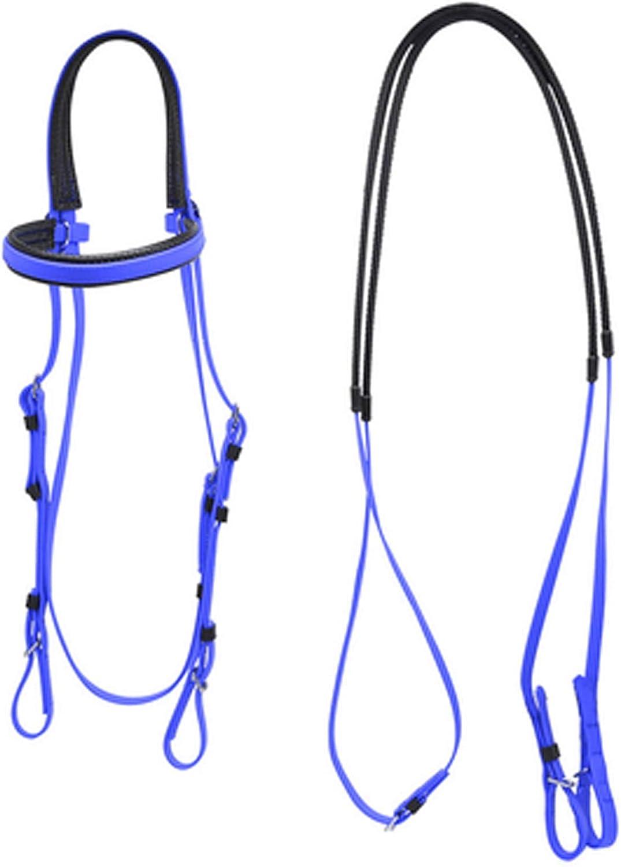 XMXM Juegos para caballos de libertad lateral para tirar, trenes, jinete hecho a mano, adecuado para equitación diaria, reduce el estrés de los caballos con riendas de goma, suave, azul