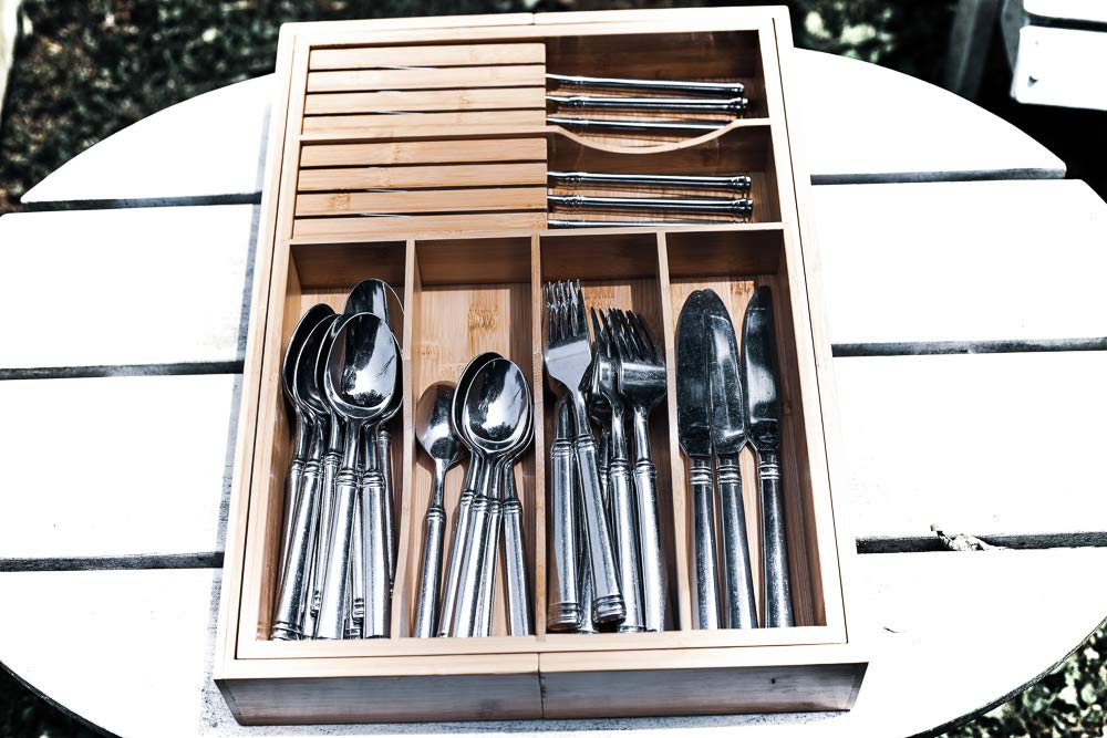 Adjustable Expandable Kitchen Utensil Drawer Organizer and Storage Tray by Bamboo Cottage 100% Bamboo Ergonomic silverware dividers, removable cutlery knife blocks, non slip for kitchen and office. by Bamboo Cottage (Image #6)