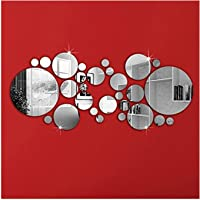 DIY Mirror Wall Sticker, OMGAI Removable Round Acrylic Mirror Decor of Self Adhesive Circle for Art Window Wall Decal Kitchen Home Decoration, 30Pcs