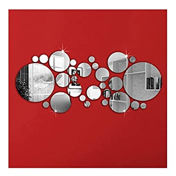 Diy Mirror Wall Sticker Omgai Removable Round Acrylic Mirror Decor Of Self Adhesive Circle For Art Window Wall Decal Kitchen Home Decoration 30pcs