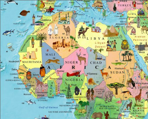 Illustrated map of the world for kids childrens world map buy save sciox Gallery