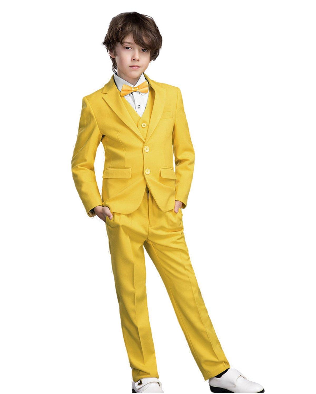Yanlu Boy's Formal Suits Kids Toddler Dresswear Tuxedos Jacket Vest Pants Shirt Tie Size 12 Yellow