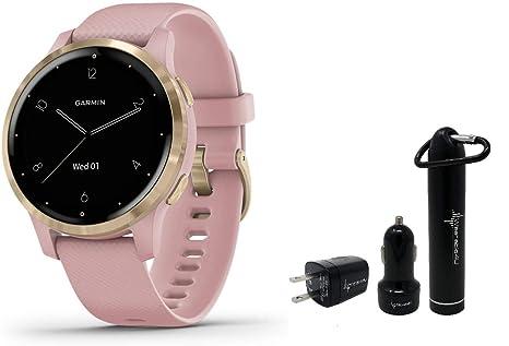 Garmin Vivoactive 4S GPS Smartwatch and Wearable4U Power Pack Bundle (Dust Rose/Light Gold)