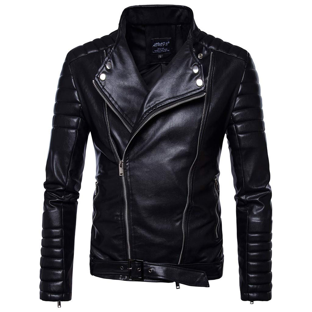 YiYLunneo Jackets for Men's Warm Faux-Leather Biker Moto Zipper Jacket with Hoodie Outwear Coat Black by YiYLunneo