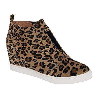 Minetom Zapatillas De Deporte De Cuña para Mujer Moda Estampado De Leopardo Plataforma Mocasines Loafers con Cremallera Antideslizante Botas Cortas: ...