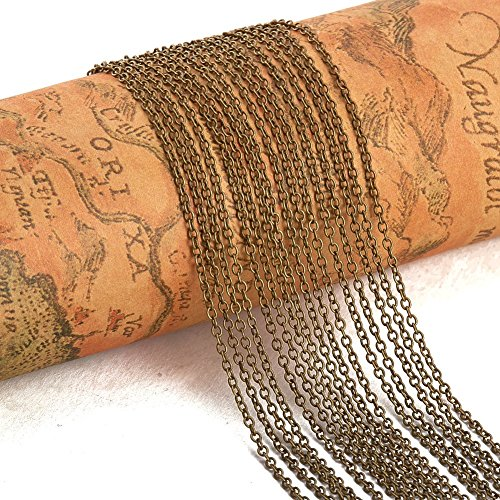 PandaHall Elite 5 Yard Brass Cross Chains Cable Chain Size 2x1.5x0.5mm Jewelry Making Chain Antique Bronze