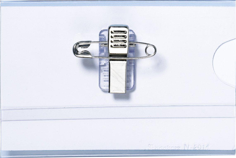 Namensschilder 25 Stück, 90 x 60 mm, Halter mit Clip + Nadel + Einsteckschild, PVC Hartfolie, Namensschild für Kleidung Namensschilder 25 Stück Schönherr