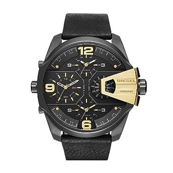 Diesel Mens DZ7377 Uber Chief Gunmetal Black Leather Watch
