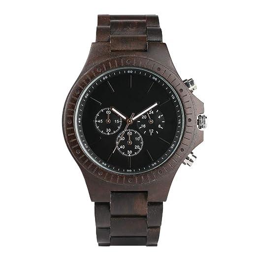 Reloj Casual de Madera para Hombre, Madera de ébano y Acero Inoxidable, Relojes de Madera Combinados para Adolescentes, Relojes de Madera livianos para ...