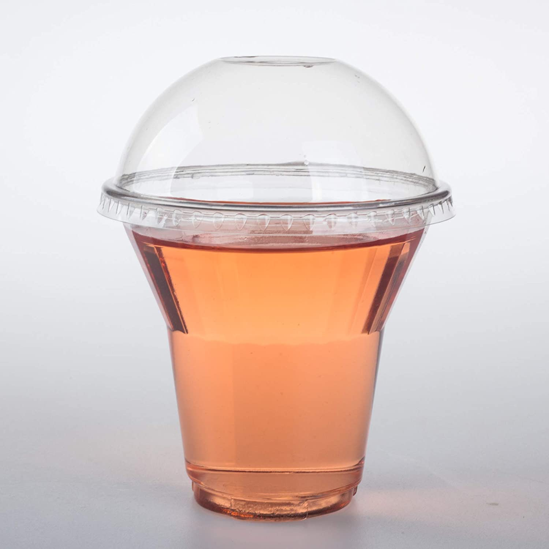 GOLDEN APPLE, 9 oz Clear Plastic Sundae Cup 30sets with Dome lids no hole. Disposable Dessert Bowls, Frozen Dessert