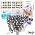 116 Russian Piping Tips Set Cake Decorations Kit Include 56 Icing Nozzles Piping,4 Sphere Ball Tips,2 leaf tips,50 Disposable Pastry Bags & Silicon Pastry Bag,Single & Tri Color Coupler,Cleaning Brush 10  THE MOST COMPLETE RUSSIAN TIP SET -The perfect cake decoration kit with everything you need 56 extra large icing nozzles, 4 russian ball piping tips , 2 leaf tip, 1 single silicon pastry bag,50 disposable pastry bags, one single color coupler and one tri-color coupler and 5 sizes cleaning brush in a hard container to keep your kit clean & organized. HIGH QUALITY RUSSIAN NOZZLE SET - Our cake icing nozzles made of top grade FDA approved 304 Stainless Steel, it is eco-friendly & rust proof with a beautiful polished chrome finish. very durable and dishwasher safe. ESAY TO USE - All our russian piping tips are numbered, no more looking for the tip you need simply use the number guide and easily find your favorite tip for your icing decoration. We added a complete guide on how to use our piping tips, the best butter cream for your cake & cupcake and much more.