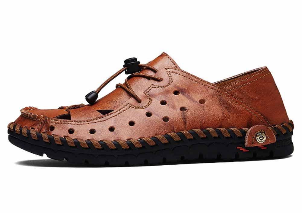 GLSHI Männer im Freien Strand Sandalen 2018 Sommer Neue Casual Clogs Handgemachte Leder Sandalen Atmungsaktiv Clogs Casual Dark Braun 0e7f8f