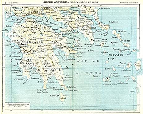 Amazon ancient greece peloponnese cyclades sporades argolide ancient greece peloponnese cyclades sporades argolide arcadia 1956 old map antique map gumiabroncs Images