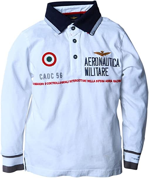 Aeronautica Militare Polo de Manga Larga para niños, Color: Blanco ...