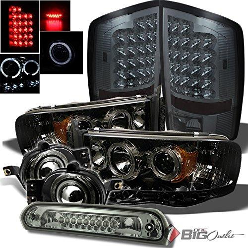 Xtune for 2002-2005 Dodge Ram Smoke Halo Projector Headlights + LED Tail Lights + Projector Fog Lights + LED 3rd Brake Lamp