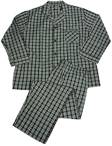 Hanes - Mens Tall Long Sleeve Broadcloth Pajamas, Black, White ()
