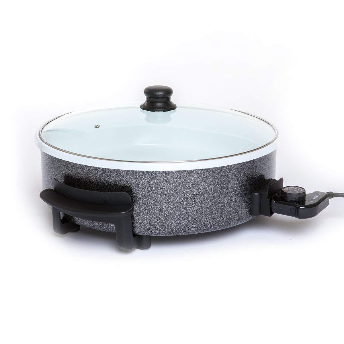 Clatronic PP 3570 C Sartén eléctrica cerámica con tapa de cristal, diámetro 42 cm, 1500 W, Negro