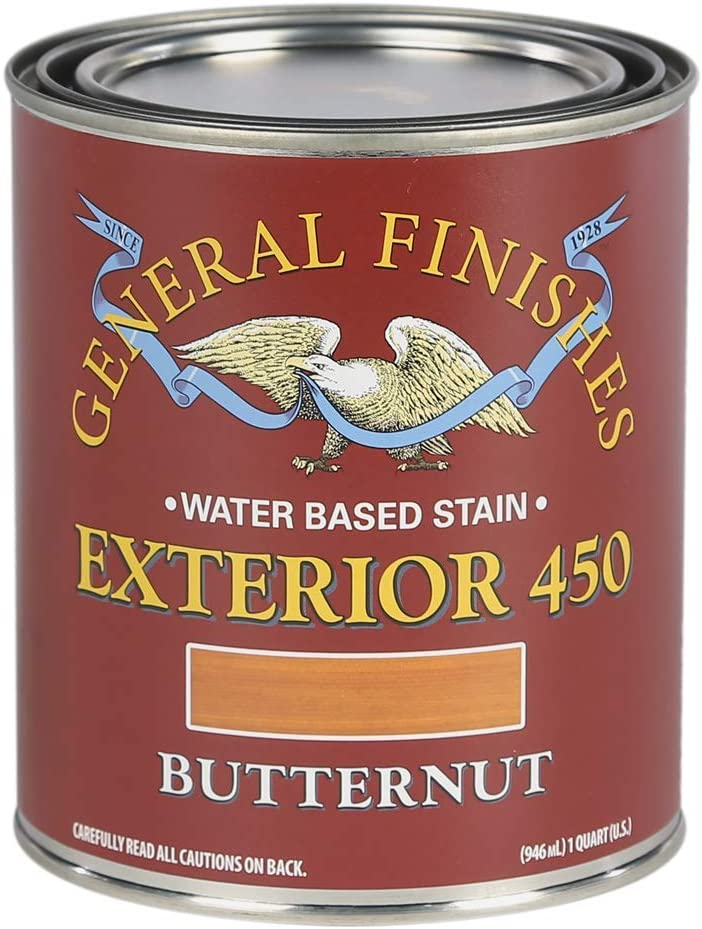 General Finishes Exterior 450 Water Based Wood Stain, 1 Quart, Butternut