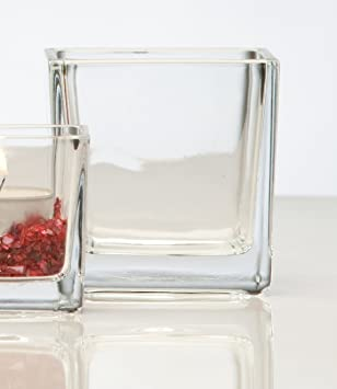 cristal jarrn con forma de cubo rectangular claro por sandra rico vidrio