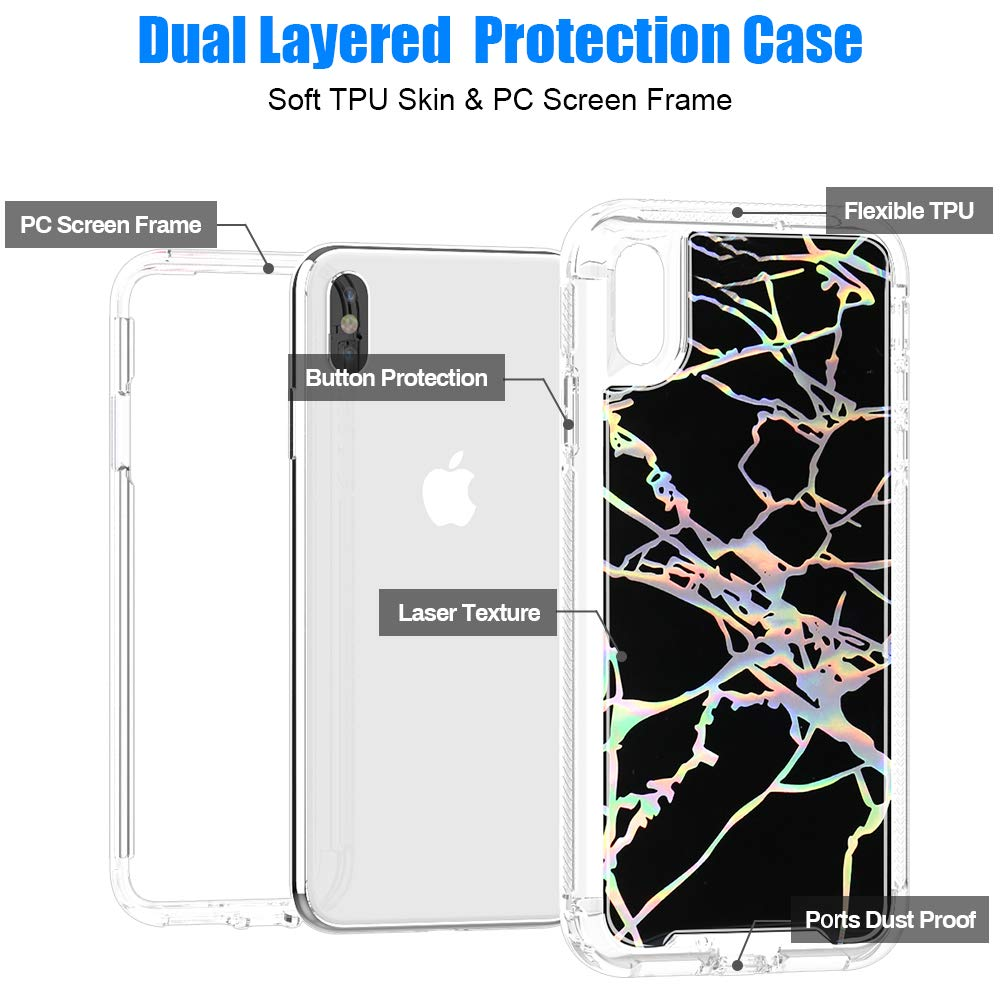SEYMAC Stock iPhone XS Max Case for Girls/Women, [High Impact Shock Absorption] with Shiny Laser&Rose Marble Drop Proof & Dual Layer Flexible Protective Case for Apple iPhone XS Max 6.5''(2018) -Black