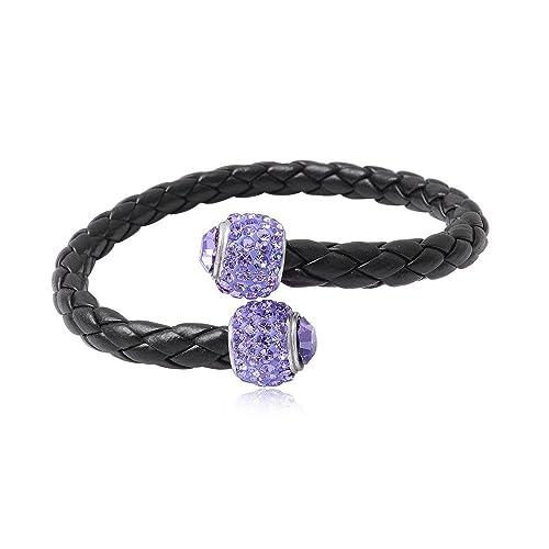 Amazon.com: Pulsera de perlas de piel negra y cristales ...