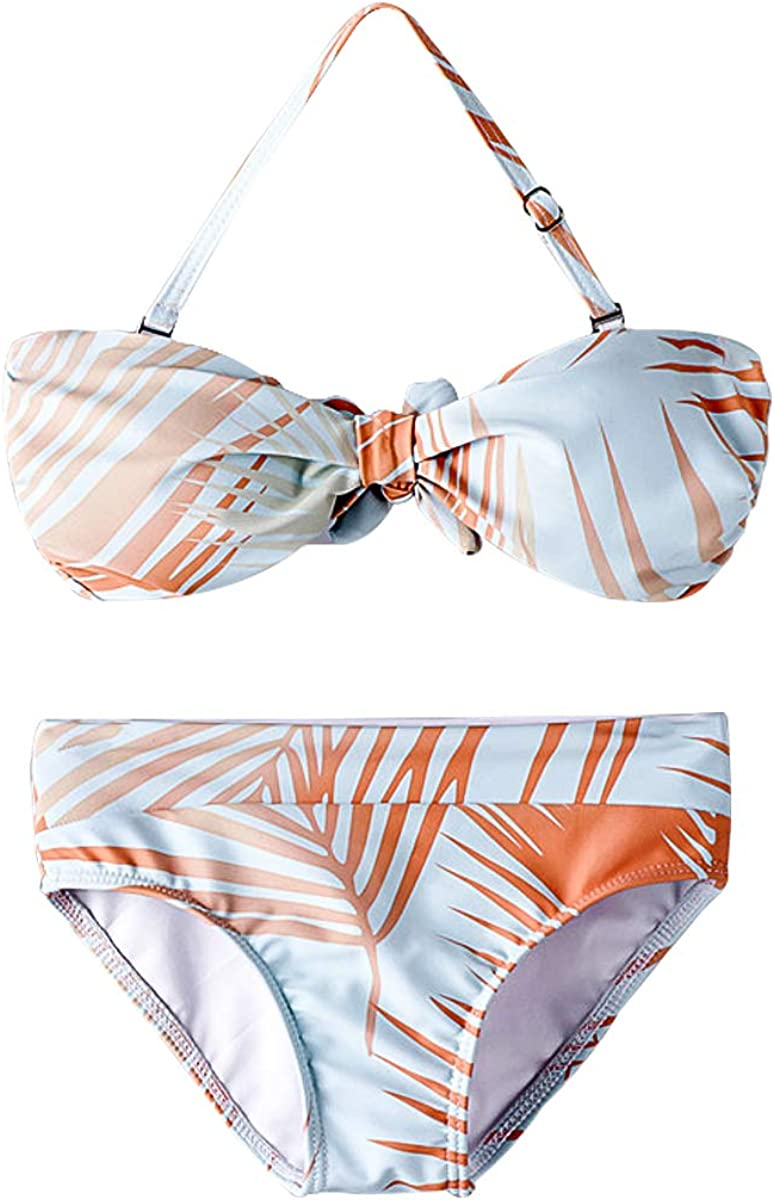 Mother and Daughter Leaves Print Swimwear Bandeau Swimsuit Mommy Girls Matching Bathing Suit