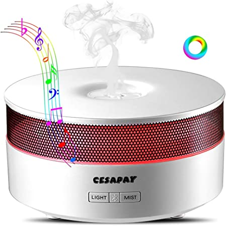 Ultrasonic Aroma Essential Oil Diffuser Air Scent Diffusers, Aromatherapy Cool Mist Humidifier with Bluetooth Speaker 7 Colorful LED Night Lights,