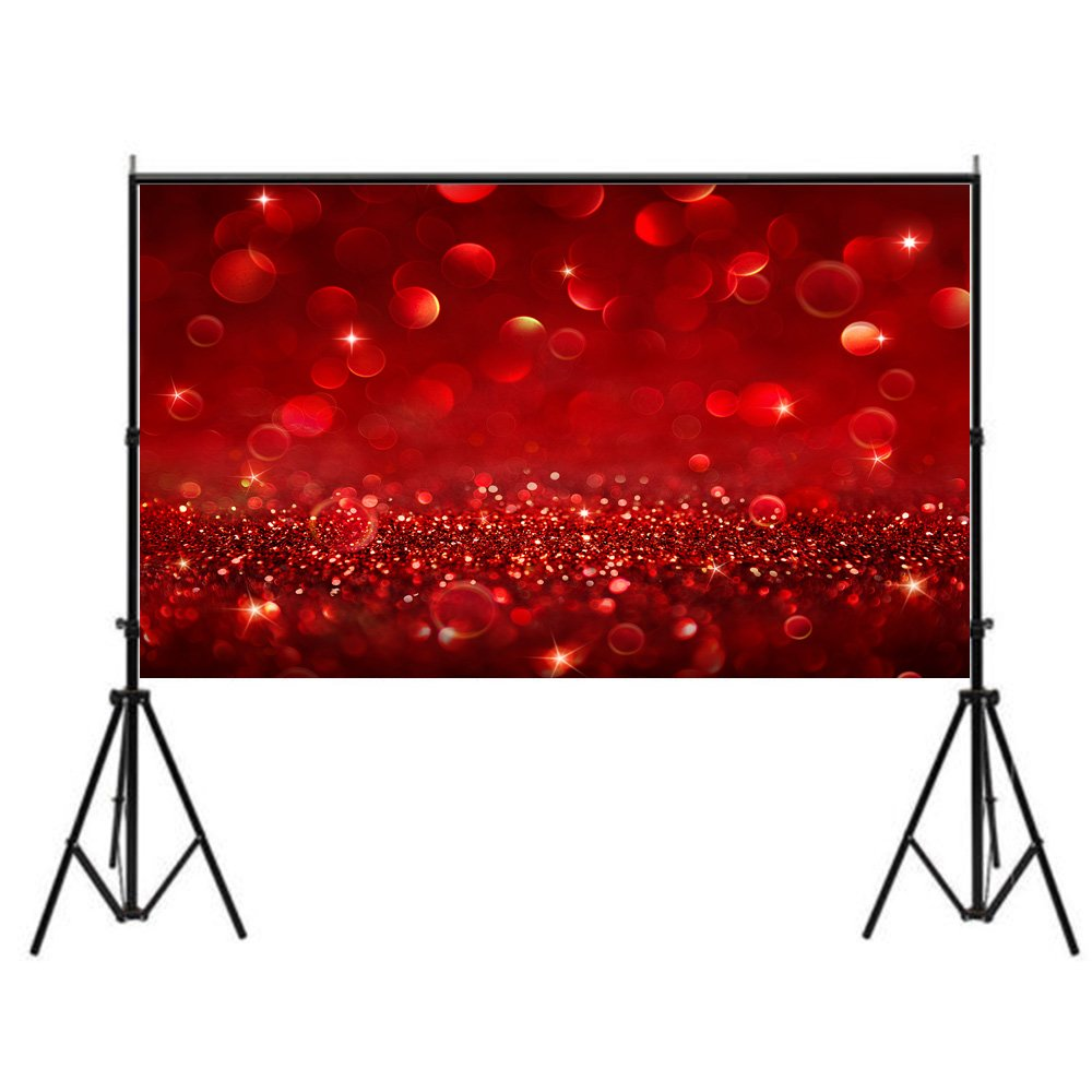 FUT Newest Red Bling Bling Vinyl Cloth Backdrop, Best Wedding, Valentine's Day, Birthday, Party Backgrounds for Wall Decor Studio Photography Television Backdrops 7x5ft by FUT