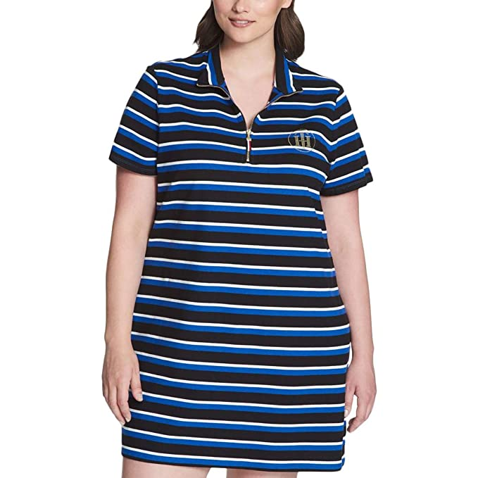 5f6b78ee Tommy Hilfiger Womens Plus Short Sleeves Mini Shirtdress Blue 1X at Amazon  Women's Clothing store: