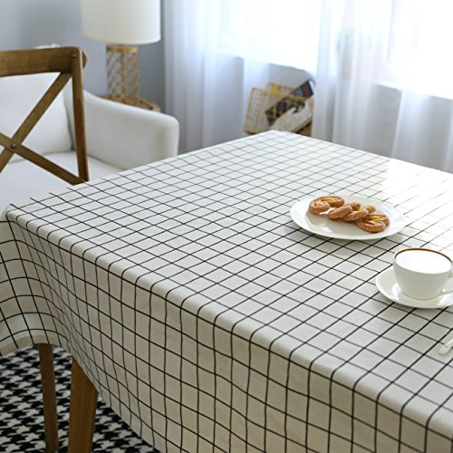 Basic Tablecloth (Homovater Cotton Gingham Washable Rectangle Geometric Tablecloth Everyday Basic for Dining Table (40