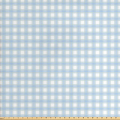 Old Fashioned Fabric (Lunarable Plaid Fabric by the Yard, Geometrical Striped Old Fashioned Pattern in Pastel Colors Country Style, Decorative Fabric for Upholstery and Home Accents, Baby Blue Yellow White)