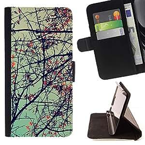 ForSamsung Galaxy S3 MINI i8190 (NOT S3) Case , Planta Naturaleza Forrest Flor 69- la tarjeta de Crédito Slots PU Funda de cuero Monedero caso cubierta de piel