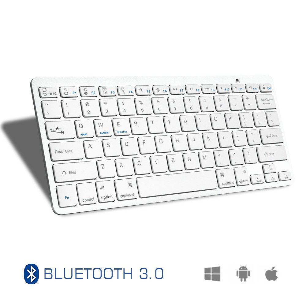 Accevo Bluetooth Keyboard, Ultra-Slim Universal Wireless Keyboard for Tablet Smartphone PC Windows Android iOS (White) by Accevo (Image #1)