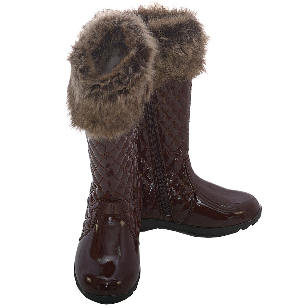 LAmour Brown Quilted Patent Faux Fur Fashion Boot Girl 11-2