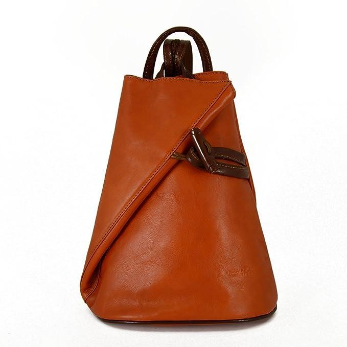 Damen Echtes Leder Rucksack Mit Träger Und Reißverschluss- Aniuk Farbe Orange Brown - Italienische Lederwaren - Rucksack Dream Leather Bags Made in Italy 5sc2BC
