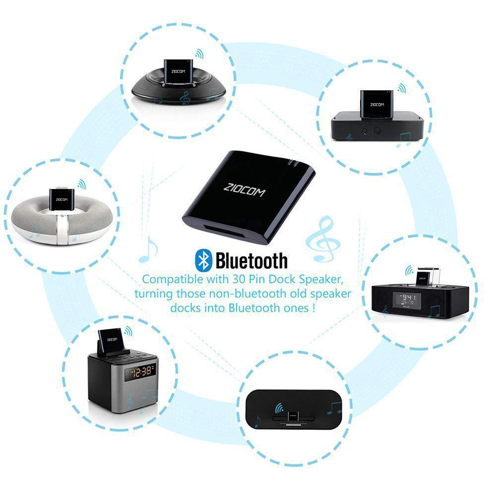 Ziocom Bluetooth 4.1 A2DP Receptor de m/úsica de Audio Adaptador Bluetooth Adaptador de Audio inal/ámbrico port/átil para Bose Sounddock y 30Pin iPhone iPod Dock Altavoz Home Sistema de Sonido Negro