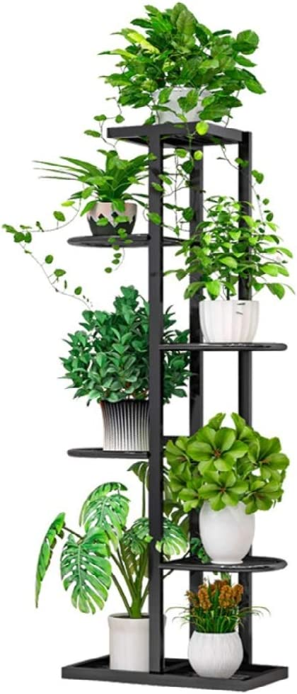 Classic Tall Plant Stand Art Flower Pot Holder Rack Planter Supports Garden & Home Decorative Pots (Black)