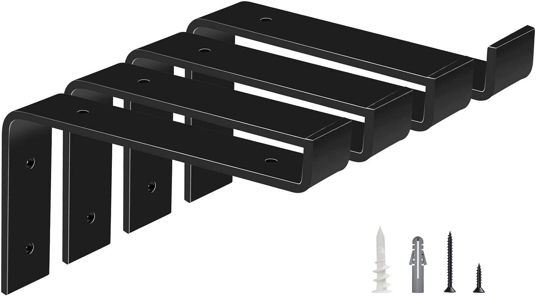 Future Way Shelf Brackets 8 Inch, Farmhouse Shelf Bracket for 7.25 Inch Boards, Heavy Duty Black Rustic Lip Bracket, 4 Packs