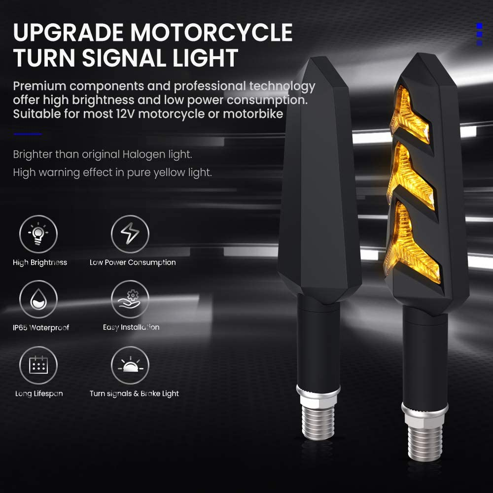 White DRL Amber Front Rear Turning Indicators Universal fit Motorbike Scooter Quad Cruiser Off Road AOLEAD Motorcycle LED Turn Signals