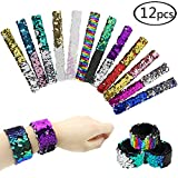 HEHALI Sequin Mermaid Bracelet for Birthday Party Favors, 2 Color Slap Bracelet, Pack of 12 (12)