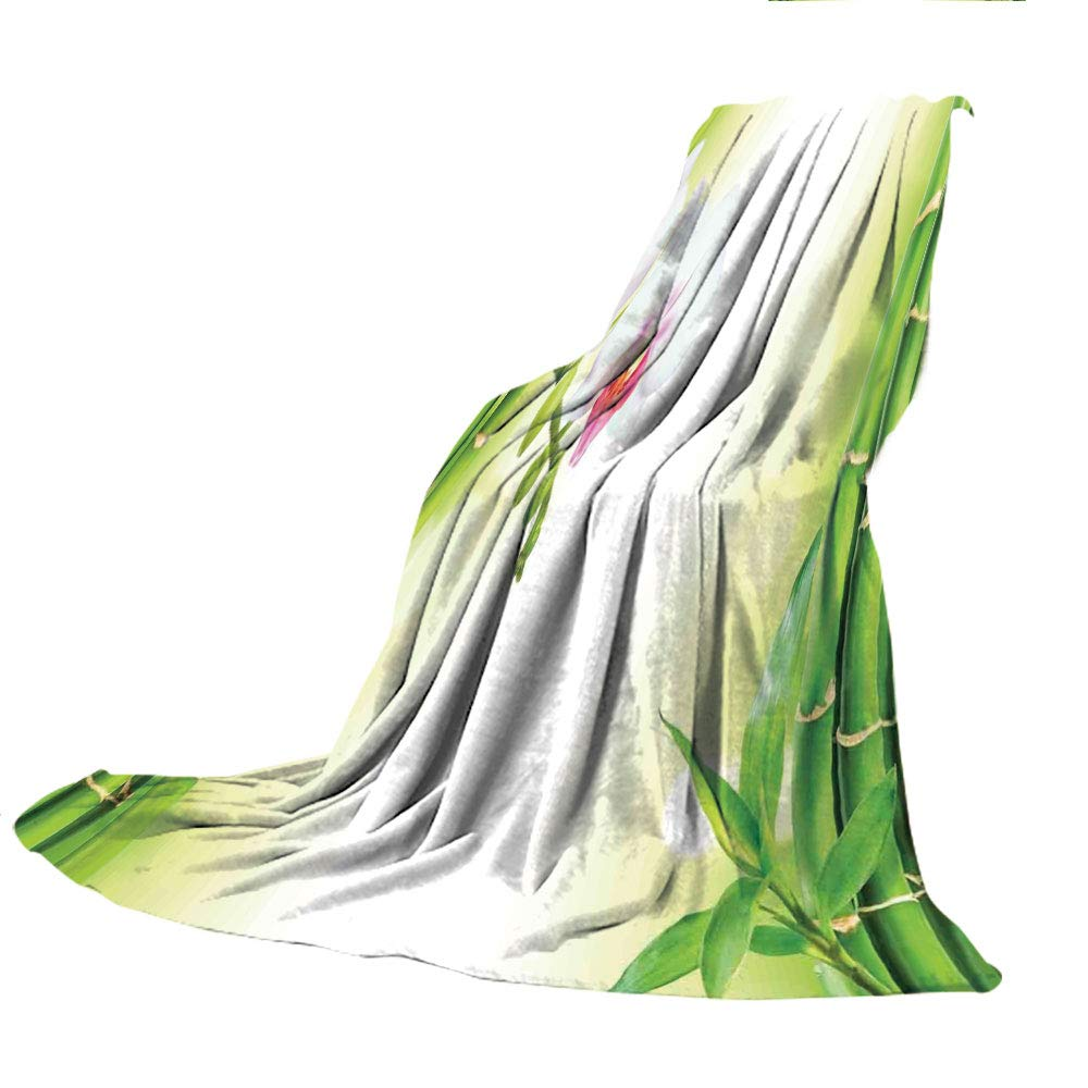 SCOCICI Blanket for Bed Couch Chair Fall Winter Spring Living Room,Spa Decor,Orchid Flowers with Bamboo Branches in Vibrant Colors Spiritual Practice Theme,White Green,59.06'' W x 86.62'' H by SCOCICI