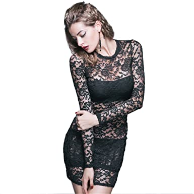32dcebb2b000 Amazon.com: Punk Sexy Womens Lace Dress Gothic Black Mini Long Sleeve Skirt  Dresses: Clothing