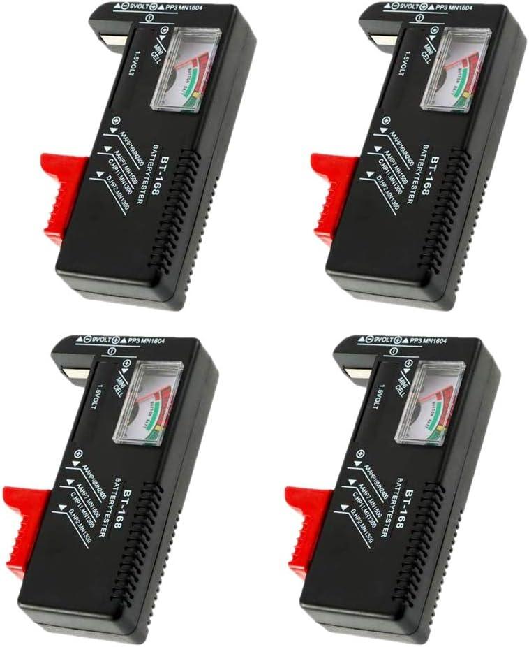 1.5V 9V TOOGOO 4 Pack Battery Tester BT-168 Universal Battery Checker para Pilas de Bot/óN AA//AAA//C//D