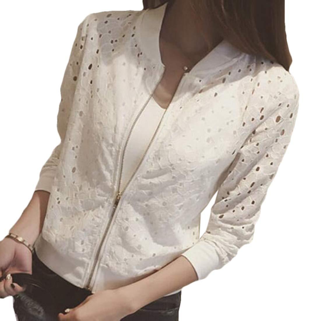 BYWX Women Baseball Uniform Lace Jacket Lace Hollow Long Sleeve Zip up Coat White US L