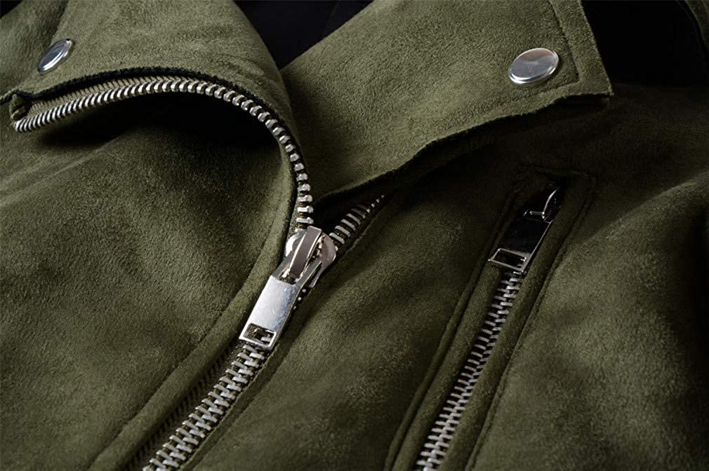HYDSFG Autumn Winter Women Soft Suede Faux Leather Jackets Coats Lady Matte Zippers Belt Dark Green Outerwear