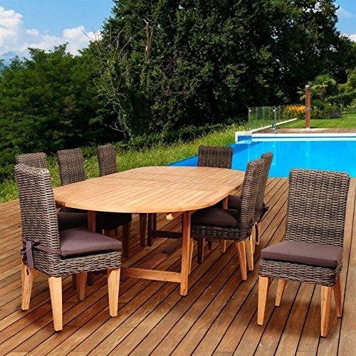Amazonia Singapore 9 Piece Teak/Wicker Extendable Oval Dining Set (Outdoor Teak Furniture Singapore)