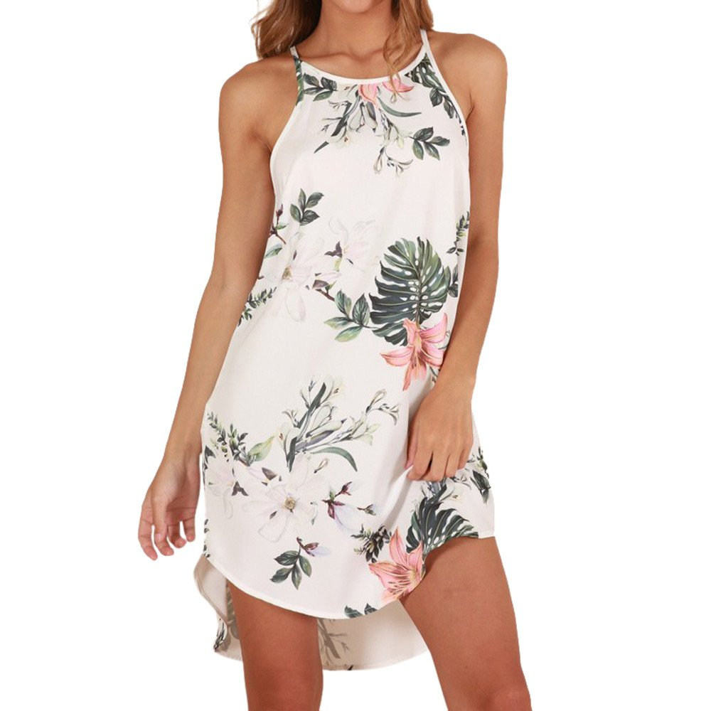 Quealent Women's Casual Sleeveless Halter Neck Boho Print Short Dress Sundress